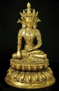 Large 17th-18th century Tibeto-Chinese gilt bronze Buddha (20,000-30,000).