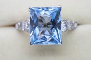 An aquamarine and diamond ring priced 5,750 at Weldons.