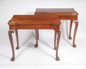 A matched pair of card tables by James Hicks, Dublin  (2,000-3,000).