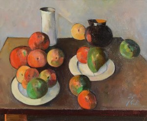 Peter Collis RHA (1929-2012) Still Life - Fruit and Table Top  (2,000-3,000).