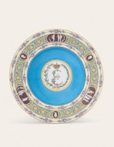 A SEVRES BLEU CELESTE-GROUND SOUP-PLATE FROM THE CATHERINE THE GREAT SERVICE 1778 (£70,000-100,000).  Courtesy Christie's Images Ltd., 2014.