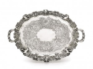 A Victorian tray by Richard West Smith for Smith and Gamble, Dublin 1844 is estimated at £7,000-10,000.