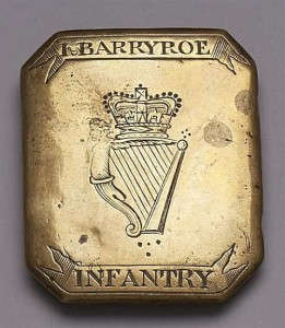 A c1770 Ibane and Barryroe Infantry cross belt plate made 1.400 at hammer.