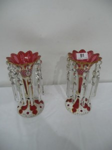 A pair antique red glass lustres  (150-250).
