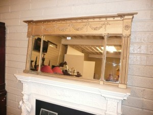 n antique three section over mantle mirror (80-150