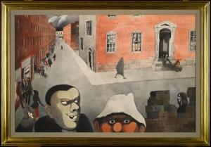 EDWARD BURRA IRISH STREET SCENE  pencil, ink, watercolour and wash (1948) (£200,000-300,000).