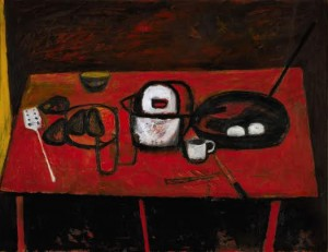 WILLIAM SCOTT, R.A. TABLE STILL LIFE signed and dated 53 (£200,000-300,000).