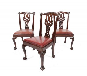 A set of 10 Irish George III style dining chairs by James Hicks (2,000-4,000).
