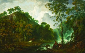George Barre (1728-1784) - A river landscape with a rainbow and anglers and a rustic cottage by a waterfall.