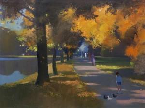John Skelton (1924-2009) - Autumn Sunlight, The Green, Dublin (1,500-2,500).