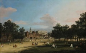 GIOVANNI ANTONIO CANAL, CALLED CANALETTO Venice 1697 - 1768 LONDON, A VIEW OF THE OLD HORSE GUARDS AND BANQUETING HALL, WHITEHALL SEEN FROM ST. JAMES' PARK
