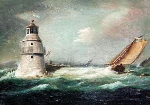 WILLIAM SADLER II (1782-1839), Shipping off Dublin, with Lighthouse and Figures (600-900).