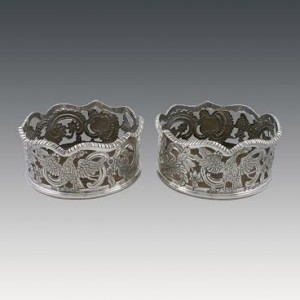 Pair of 18th C. Irish Silver coasters from Danker Antiques Dublin