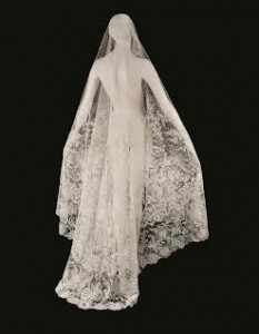 A BELGIAN NEEDLE AND BOBBIN LACE TEAR-SHAPED WEDDING VEIL BRUSSELS, CIRCA 1860 (£3,000-5,000).  Courtesy Christie's Images Ltd., 2015