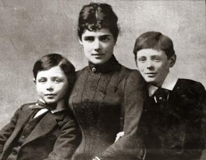 Lady Churchill with her sons.