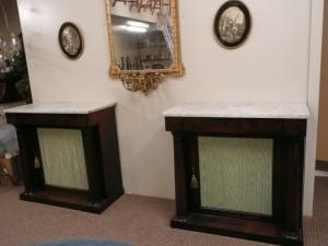 A pair of Irish 19th century mahogany side cabinets c1840 (4,000-6,000).