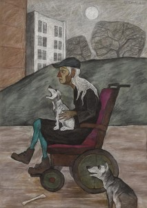 Eddie Mooney HRHA (b.1940)  Old Dog Lady (2006) sold for 1,500 over a top estimate of 1,000.