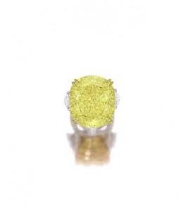 77.77-carat VS2 Fancy Vivid Yellow Diamond and Diamond Ring (Est. HK$53 – 58 million / US$6.8 – 7.5 million)