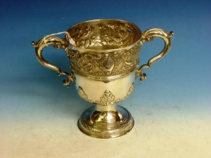 Large Cork George III Later chased Cup by John Whitney 1780