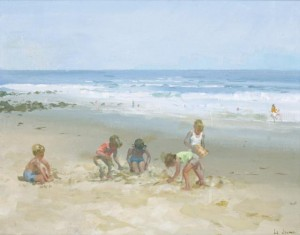James le Jeune RHA 1910 - 1983 CHILDREN ON THE BEACH (3,500-4,500)