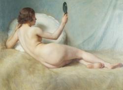 Paul Sieffert (1874-1957) Study of a female nude, oil on canvas (12,000-16,000).