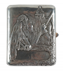 A presentation Faberge silver cigarette case (1,000-1,500).