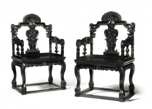 A rare pair of Zitan armchairs, Qing Dynasty, Qianlong Period (£200,000-300,000) Copyright Sotheby's