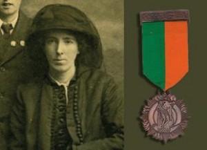 Kathleen Clarke with her 1916 Bronze Medal.