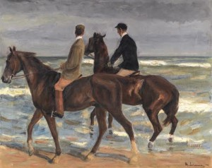PROPERTY FROM THE COLLECTION OF DAVID FRIEDMANN OF BRESLAU Max Liebermann  (1847-1935) ZWEI REITER AM STRAND NACH LINKS (TWO RIDERS ON THE BEACH TO THE LEFT)
