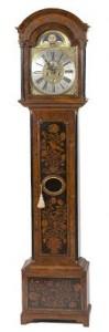 18TH CENTURY IRISH WALNUT AND PARCEL GILT LONG CASE CLOCK,  by Blundell of Dublin (24,000-28,000).