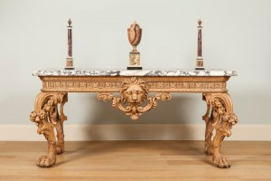 A George II Carved Side table Attributed to William Linnell The Design Possibly by John Linnell, Courtesy of Apter-Fredericks.