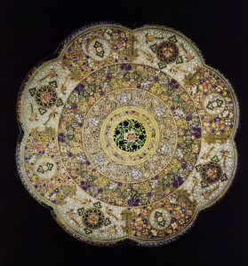 A Rare Anglo-Indian Polychrome, Decorated Drum Table Top, c. 1880, Courtesy of Apter-Fredericks.