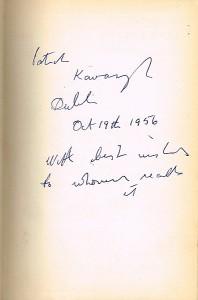 An inscription by Patrick Kavanagh on Tarry Flynn.