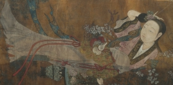 A Chinese painting of a young woman, watercolours on silk, late eighteenth century. (600-800).