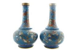 A matched and opposed pair of Chinese bottle-shaped cloisonné vases, late eighteenth century (5,000-7,000).