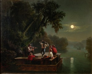 Carl Wimar - Jolly Flatboatment by Moonlight