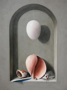 Stuart Morle (b.1960) STILL LIFE WITH SEASHELLS AND OSTRICH EGG (2,000-3,000).