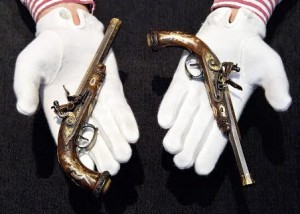 The pistols gifted by Napoleon I to his son.