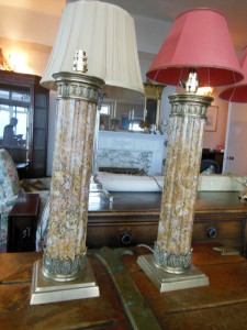 "A pair of Siena marble lamps, each 22"" high (400-700)."