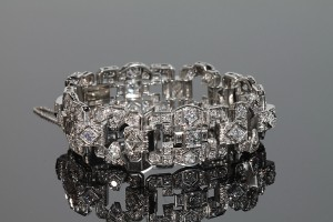 A c1930 Art Deco diamond bracelet (6,000-8,000).