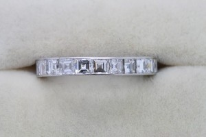 An emerald cut eternity ring by Bulgari at Weldons (6,500).