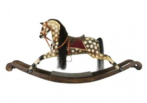 A Victorian style rocking horse with horse hair mane (600-800).