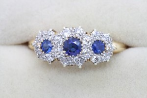 A sapphire and diamond triple cluster ring from the 1890's at Welcons