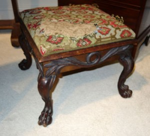 Irish mahogany footstool, purchased from the Adare Manor collection auction.