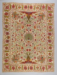 Bedcover:  Palampore. Deccan, India, 1710–1750. Cotton embroidered  with silk and metal-wrapped threads. Peabody Essex Museum, Salem,