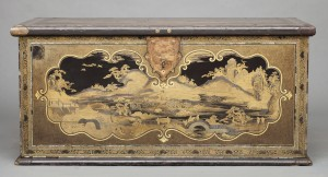 Cat. 40b Chest. Japan, 1635–1645. Wood covered in black and red lacquer, with gold and silver hiramaki-e and takamaki-e lacquer, gold and silver foil, mother-of-pearl, crystal, and silver and copper fittings. 28 1/8 × 56 1/4 × 26 5/8 inches (71.5 × 143 × 67.5 cm). State Historical Museum, Moscow.