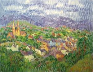 Desmond Carrick RHA, 1928-2012 VIEW OVER CLIFDEN, CONNEMARA (1,000-2,000).