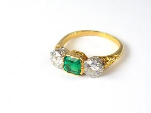 A  three-stone Victorian ring with an emerald flanked by .5ct diamonds on either side (7,500 at Cobwebs).