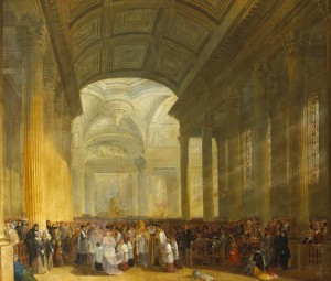 THE CONSECRATION OF THE ROMAN CATHOLIC CHURCH OF ST. MARY'S, POPE'S QUAY, CORK, c.1842 by James Mahony RHA (c.1815-c.1859)