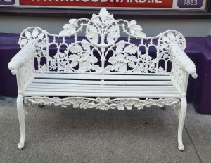 One from a pair of Victorian cast iron Coalbrookdale garden seats (1,500-2,500).